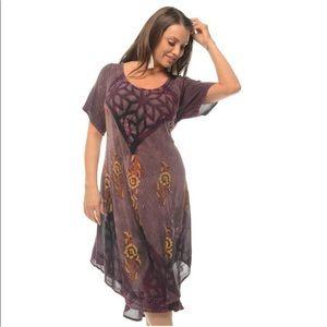 🆕 Purple Unique Batik Print Boho Dress